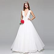 Corte en A Escote Hasta el Suelo Encaje Tul Vestido de novia con Cuentas Apliques por LAN TING BRIDE®