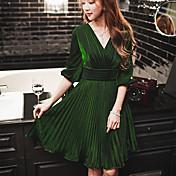 Mujer Línea A Vaina Corte Swing Vestido Noche Formal Fiesta/Cóctel Vintage Chic de Calle Sofisticado,Un Color Escote en PicoSobre la