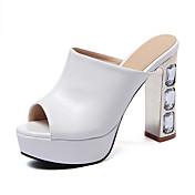 Sandály-PUDámské-Bílá Černá Růžová-Outdoor Kancelář Běžné-Kačenka Block Heel