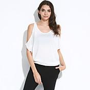 Kortærmet Skulderfri Tynd Kvinders Rosa / Hvid Ensfarvet Sommer Sexet / Street Casual/hverdag T-shirt,Bomuld
