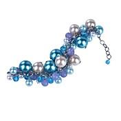 女性 チャームブレスレット クリスタル 真珠 人造真珠 ガラス 合金 ファッション ライトブルー ジュエリー 1個