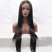 Mujer Pelucas sintéticas Encaje Frontal Largo Liso Negro Entradas Naturales Raya en medio Peluca natural Peluca de Halloween Peluca de