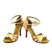 Obyčejné-Dámské-Taneční boty-Latina Slasa-Satén-Na zakázku-Černá Modrá Žlutá Růžová Fialová Červená Bílá