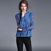 Mujer Simple Casual/Diario Primavera Camisa,Escote Redondo Estampado Manga Larga Algodón Azul Fino