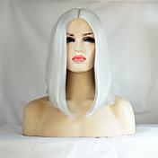 Mujer Pelucas sintéticas Encaje Frontal Medio Liso Blanco Raya en medio Entradas Naturales Corte Bob Peluca natural Peluca de Halloween