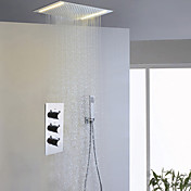 現代風 シャワーシステム LED レインシャワー ハンドシャワーは含まれている with  セラミックバルブ 3つのハンドル三穴 for  クロム , シャワー水栓