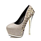 Mujer-Tacón Stiletto-Light Up Zapatos-Tacones-Boda Fiesta y Noche-Purpurina PU-Dorado Negro Plata Rosa