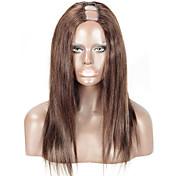 Mujer Pelucas de Cabello Natural Cabello humano 130% Densidad Liso Peluca Marrón Oscuro Corto Medio Largo Entradas Naturales Para mujeres
