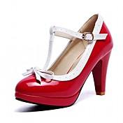 Mujer-Tacón Robusto-Confort-Tacones-Oficina y Trabajo Vestido Fiesta y Noche-Semicuero-Negro Rojo Blanco