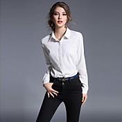 Mujer Simple Trabajo Verano Camisa,Cuello Camisero A Rayas Manga Larga Poliéster Blanco Negro Fino