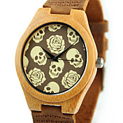 男性用 女性用 ファッションウォッチ 腕時計 ウッド ユニークなクリエイティブウォッチ クォーツ 木製 ウッド バンド スカル カジュアルスーツ ブラウン