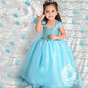 Vestido Chica deJacquard-Poliéster / Mezcla de Algodón / Encaje / Malla-Todas las Temporadas-Azul