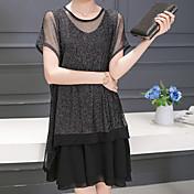 Feminino Solto Vestido, Trabalho Tamanhos Grandes Casual Simples Fofo Moda de Rua Sólido Decote Redondo Altura dos Joelhos Acima do Joelho