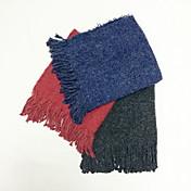 Bufanda Unisex Vintage Trabajo Casual-Mezcla de Algodón Punto Un Color Rectángulo