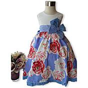 Vestido Chica deFloral-Algodón-Verano-Azul