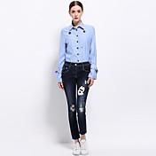 Mujer Vintage Simple Chic de Calle Casual/Diario Trabajo Primavera Verano Camisa,Escote Cuadrado Un Color Manga Larga Algodón Azul Fino