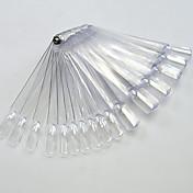 1set 50tips placa transparente / natrual del arte del clavo del ventilador con el clavo de metal herramientas de la manicura del arte del