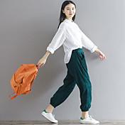Mujer Moderno Tiro Medio strenchy Corte Ancho Pantalones,Holgado Color sólido Color puro