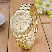 Geneva Fashion Strap Watch Dress Watch Wrist watch Simulated Diamond Watch Quartz Rhinestone Rose Gold Plated Alloy Band