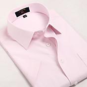 男性用 チェック カジュアル / オフィス / フォーマル / スポーツ シャツ,半袖 コットン ピンク
