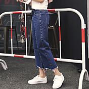 nueva alta cintura del resorte pantalones vaqueros rectos femeninos de Corea finos delgados de apertura irregular de nueve pies de ancho