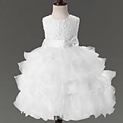 vestido de bola vestido de la muchacha de flor de longitud de rodilla - cuello joya sin mangas de organza por ydn