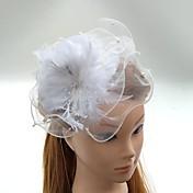 成人用 羽毛 チュール かぶと-結婚式 パーティー ヘッドドレス ハット バードケージベール 1個