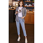 signo de la primavera 2017 coreano bordes sueltos nueve puntos pantalones vaqueros hembra viento bf