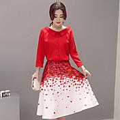 firmar 2017 nueva camisa de la falda pétalo rojo impresa vestido dos