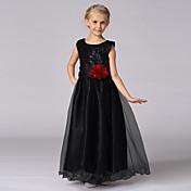 Prinsesse gulvlængde blomsterpige kjole - satin tulle ærmerøs juvel hals med sequin