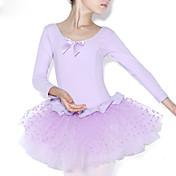 Ballet Vestidos Niños Entrenamiento Algodón Volantes Corte 1 Pieza Mangas largas Cintura Media Leotardo