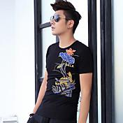 2017春と夏の男性' sのラウンドネック半袖Tシャツ中国風の印刷鯉の入れ墨の横暴な綿