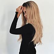 女性 人工毛ウィッグ キャップレス ロング丈 ウェーブ ブラック/ストロベリーブロンド オンブレヘア ダークルート ミドル部 ナチュラルウィッグ コスチュームウィッグ
