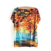 Simple Bonito Casual/Diario Primavera Verano Camiseta,Escote Redondo Estampado Manga Corta Algodón Amarillo Opaco