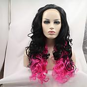 カーリー耐熱オンブル合成かつらをピンクにするシルビア合成レースフロントウィッグ自然な黒