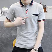 2017 verano nueva camisa de polo de manga corta masculino delgado coreano de la solapa de manga corta de la camiseta del color sólido de