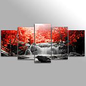 キャンバスプリント 風景 花柄/植物の Modern,5枚 キャンバス 横長 版画 壁の装飾 For ホームデコレーション