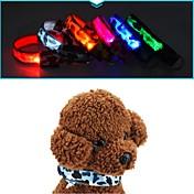 猫用品 犬用品 カラー アンチ犬叫 LEDライト カモフラージュ レッド ホワイト グリーン ブルー ピンク イエロー オレンジ ナイロン