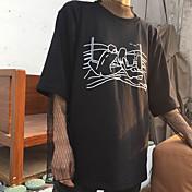 レディース カジュアル/普段着 Tシャツ,シンプル ラウンドネック レタード コットン ハーフスリーブ
