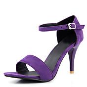 Mujer-Tacón Stiletto-Zapatos del club-Sandalias-Oficina y Trabajo Vestido Informal-Terciopelo-Negro Morado