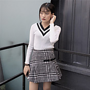 otoño e invierno signo 2016 versión coreana era delgada de punto con cuello en V camisa de manga larga delgada femenina