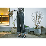 20 nuevos pantalones vaqueros de cintura alta floja coreana pantimedias negro de curling pantalones vaqueros rectos de los pantalones
