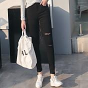 本物のショット!スポット!春のファッションライン!今年人気の女性の穴のジーンズと、それが破裂!
