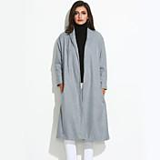 女性 冬 ソリッド コート シャツカラー グレイ ウール 長袖 スモーキー