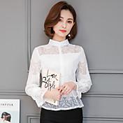 記号のレースのシャツ韓国人女性のスリムカラーシャツ中空半袖2017春の新潮流