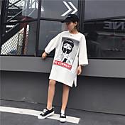 本物のショットは、長いセクション半袖Tシャツの印刷薄い野生のファッション潮穴ゆるいキャラクターでした