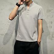 ソリッドカラーVネックTシャツスリム男性の短いシャツ日本モデル