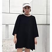 本当に新しいパッチの原宿スタイルの印刷5番目の袖のTシャツの女性の緩い丸い首のTシャツの潮