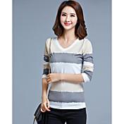 春と秋の韓国ヤードの女性のファッションに署名シャツの女性を底スリム薄い長袖VネックTシャツ印刷