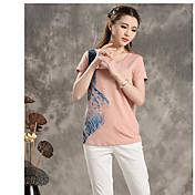 竹の夏新しい文芸のヒットカラーの印刷ラウンドネック半袖Tシャツの女性8520220090